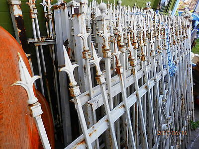1920'S WROUGHT IRON FENCE,,,,14-6FTx5FT PANELS, 3 GATES....SCROLLING AND SPEARS