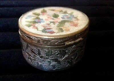 Silver Overlay Round Hinged Trinket Snuff Jewelry Box Embroidered Top