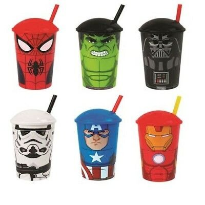 Kids Licensed Tumblers with Straws Superheroes Cartoon Characters Toy Travel Cup