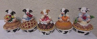 Enesco Mary's Moo Moos - Cow Pie covered boxes - lot of 5