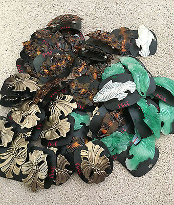 Wholesale Lot of 45 Plastic Hair Clips on Cards, NEW, 6 designs, fish flowers