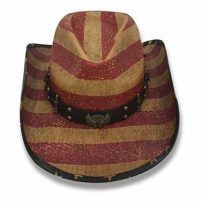 Cowboy Cowgirl Hat USA American Flag Stars Stripes Rodeo Western One Size West