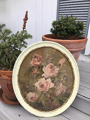 ~Vintage Shabby Chic Oval Florentine Framed Roses Print By Laura H Jacobs~