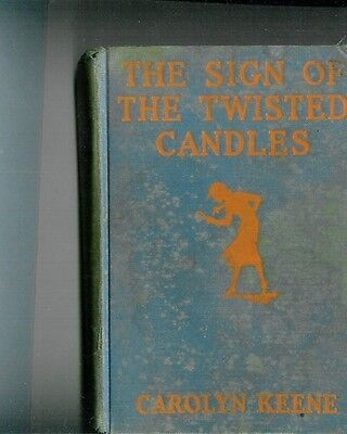 """"""" The Sign Of The Twisted Candles"""" Nancy Drew Blue Book  1933  ? 1St Edition"""