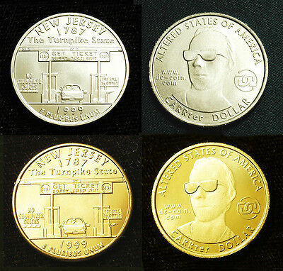 1999 Altered New Jersey State CARRter Dollar by Daniel Carr Brass BU Free S&H