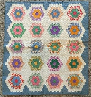 "Antique Quilt circa 1930 - ""Grandmothers Flower Garden crib blanket - rare"