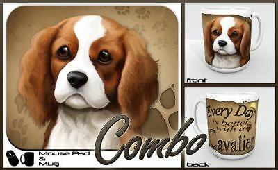 "Cavalier King Charles Spaniel ""for Dog Lovers Only"" Mouse Pad and Mug Combo Set"