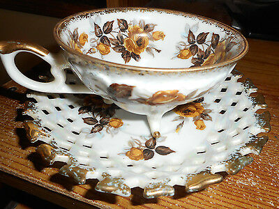 Vintage Fred Roberts China Tea Cup & Saucer 3 Footed San Francisco
