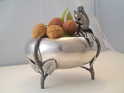 Excellent Victorian Figural Nut Bowl Silverplate Footed Server Squirrel Branch