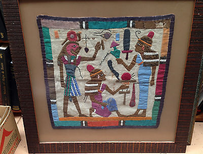Very old vintage Egypt tapestry Tent makers Art embroidery in 1970's Wood Frame