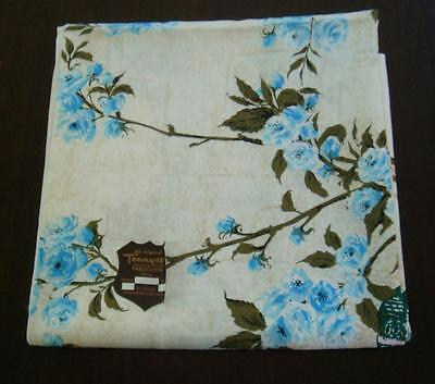 Vintage tablecloth, Blue flowers , Tennyson label , original sticker ,