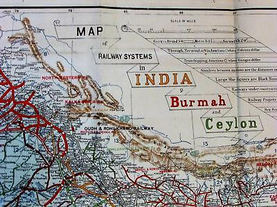 Railroad systems of British India Ceylon Agra Bombay 1912 huge antique color map