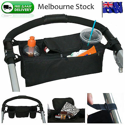 Baby Pram Organizer Bottle Cup Holder Stroller Caddy Storage Universal Buggy 2