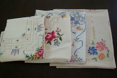 Lot of 4 Vintage tablecloths, all with cross stitch roses
