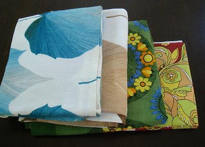 Lot of 4 Vintage tablecloths, bright retro prints