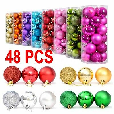 48PCS Christmas Tree Xmas Balls Decorations Baubles Party Wedding Ornament 3cm