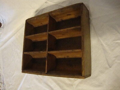 Vintage Primitive Wood Money Box Dove Tailed 6 Sections