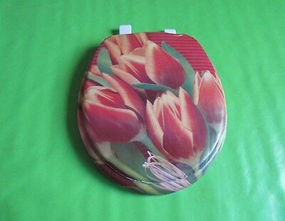 1X New Tulip Flower Soft Toilet Seat & Cover 43cm Long