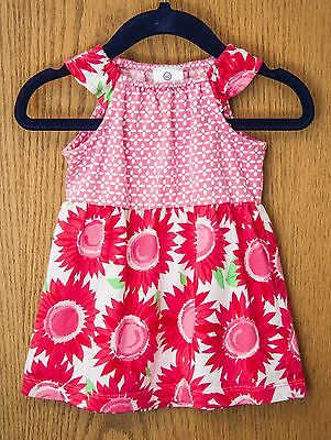 HANNA ANDERSSON baby girl dress size 60 US 3-6 months, red floral sunflower pink