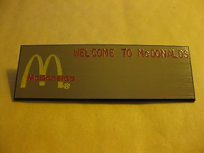 McDONALDS GOLD Name Tag Crew Badge! 'WELCOME to McDONALDS'
