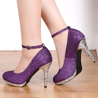 Women Purple Glitter Straps Buckle Dress Prom Evening Wedding Bridal Shoes