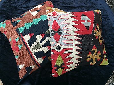 2 Turkish Kilim Handwoven Pillows - Antique Textiles - Southwest Look