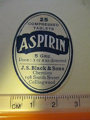 Vintage Chemists Aspirin Label