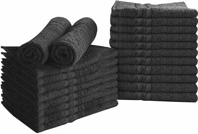 24 Pack Cotton Bleach Proof Salon Towels Gym Black 16 x 27 inches Utopia Towels