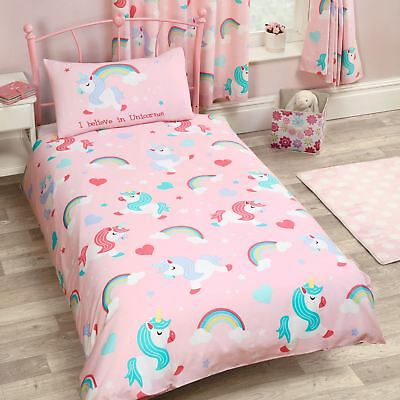 I Believe In Unicorns Junior Toddler Duvet Cover Set Rainbow Girls