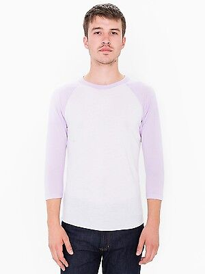 21cd9d835 American Apparel Unisex Raglan 3/4 Sleeve White Light Grape Lavender T  Shirt M
