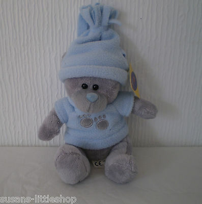 Giftworks Cute Teddy Bear wearing Blue Hat & Jumper Soft Toy, New with Tags