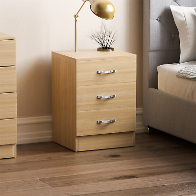 Riano Bedside Cabinet Chest Of Drawers Pine 3 Drawer Metal Handles Runners