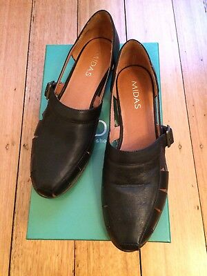 Midas Jikers black leather shoes loafers 38 new in box