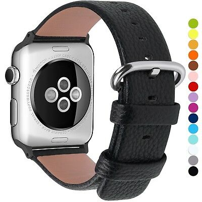 Apple Watch Strap,Fullmosa 38mm Litchi Texture Full-grain Leather Watch Bands