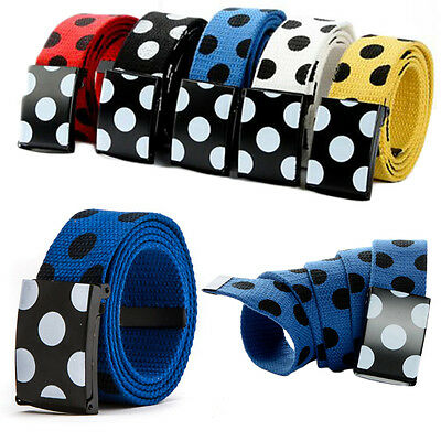 Fashion Adjustable Polka Dots Casual Women Lady Canvas Fabric Woven Buckle Belts