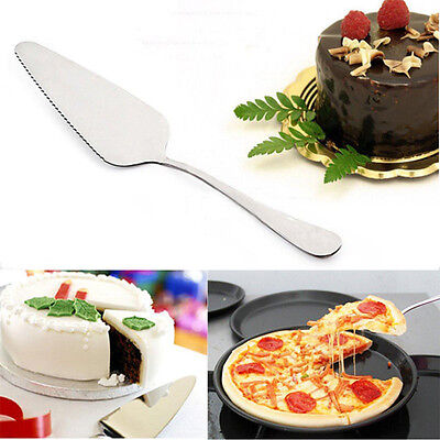 Stainless Steel Pizza Pie Server Cutting Shovel Tool Toothed Cheese Cake Cutter