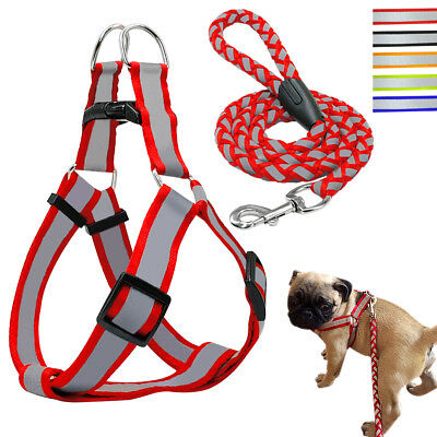 Step-in Nylon Dog Strap Harness& Leads Quick Fit Vest Reflective for Dogs S M L