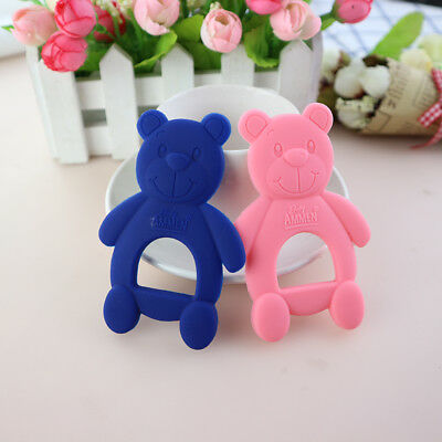 2pcs/set Teether Newborn Kids Toy Safety Rubber Baby Teethers Cute Bear Toys