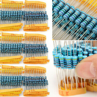 1000pcs 1% 1W 100 Value Metal Film Resistor Resistance Assorted Kit 1 ohm-1M ohm