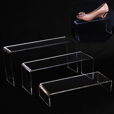 3pcs Set Clear Acrylic Display Showcase Stand Rack For Shoes/jewelry/Cosmetics
