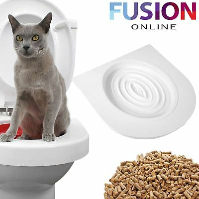 Cat Toilet Training Seat Litter Tray Kit Potty Train System Pet Kitty Catnip