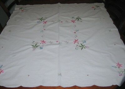 Vintage Embroidered Tablecloth ~ Flowers ~ Cotton ~ Square