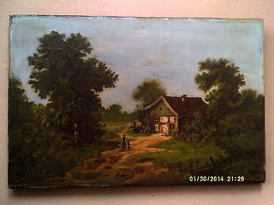 Antique on canvas, landscape with cottage and figures
