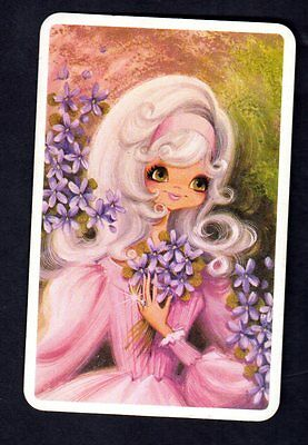 Vintage JOY Swap Card - Pretty Girl with Mauve Flowers (BLANK BACK)