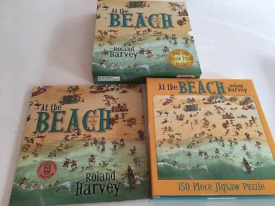 At The Beach By Roland Harvey. Book & Jigsaw Puzzle Set New In Box. Collect Or P