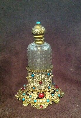 Amazing antique Scent Bottle with Stand Palais Royal Turquoise Ruby WOW