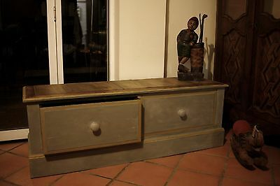 Antique Painted Window Seat Bench with 2 Drawers