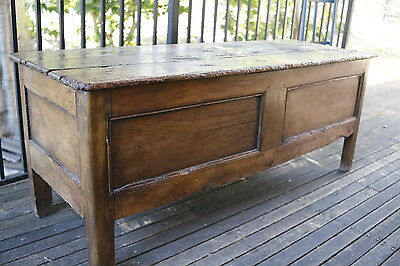 Antique Late 17th Century Oak Chest Coffer Blanket Box