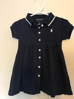 Ralph Lauren Baby Girls Navy Blue Polo Dress Pleated Cotton Size 12M