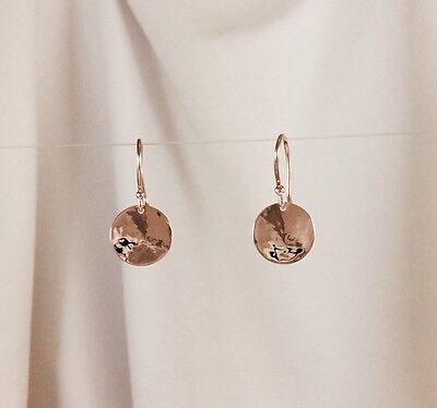 Solid 9ct Rose / Pink Gold 11mm Hammered Drop Disc Earrings
